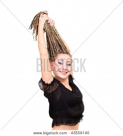 portrait of young smiling woman with  dreadlocks.