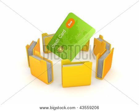 Yellow folders around credit card.