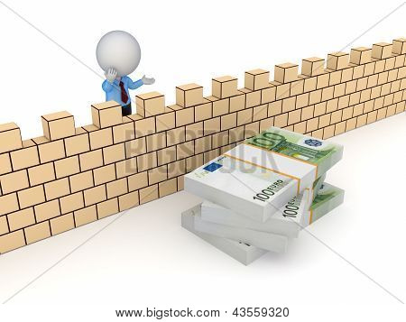 3d small person behind the wall and stack of euro.