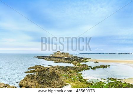 Saint Malo Fort National And Rocks, Low Tide. Brittany, France.