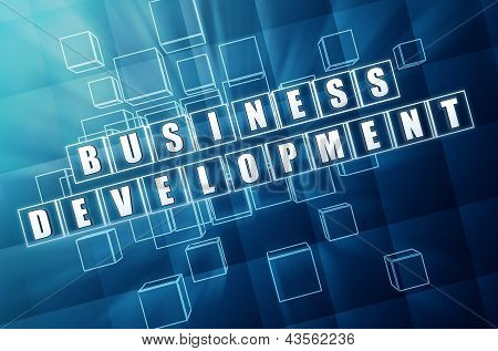 Business Development In Blue Glass Cubes
