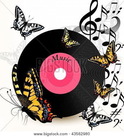 Abstract Music Background With Vinyl Record, Notes And Butterflies