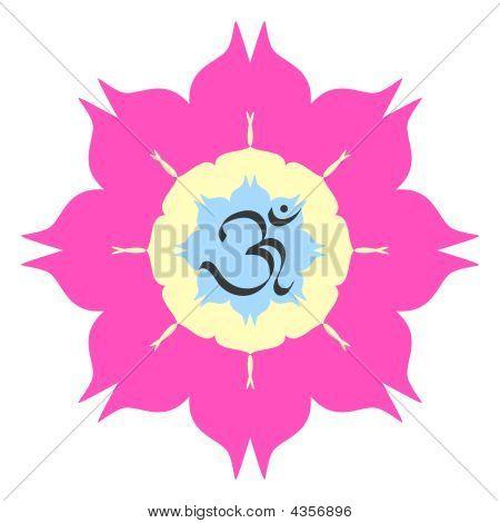 Om On Lotus Flower