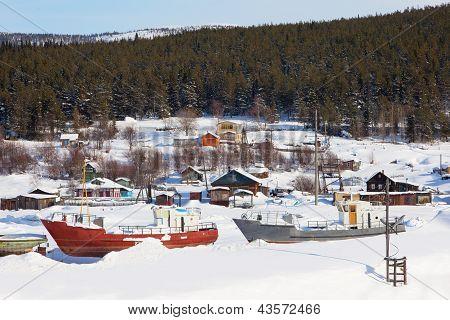 Westpommern-Dorf. Winterlandschaft