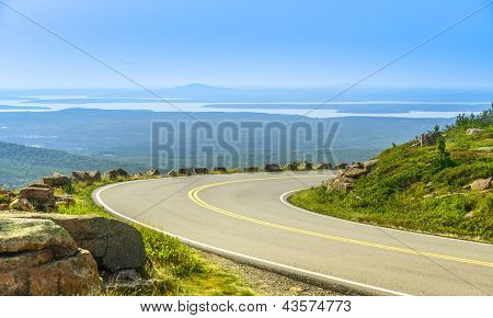 Cadillac Mountain Drive In Acadia National Park, Maine In A Clear Summer Day