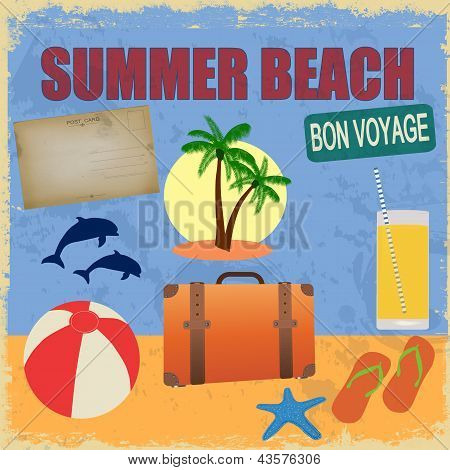 Summer Beach Poster In Retro Style