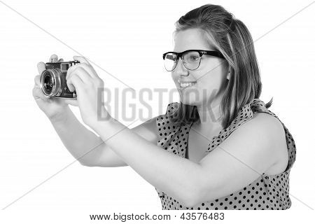 Retro Monochrome Pretty Woman Photographer