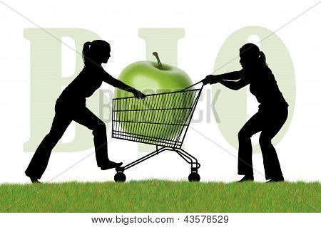 Women Fighting For A Shopping Caddy With A Bio Apple