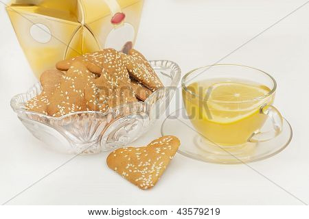 Ginger Biscuits And A Cup Of Green Tea
