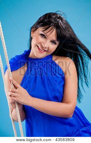 Happy Beautiful Brunette Girl In Stduio