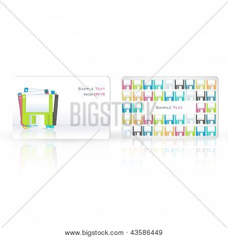 Colorful Diskettes Printed On Business Card. Vector Design
