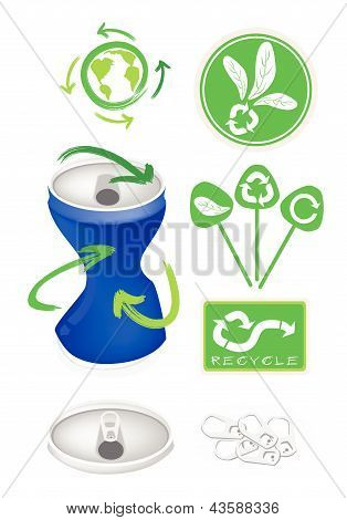 Soda Can With Recycle Symbol For Save The World