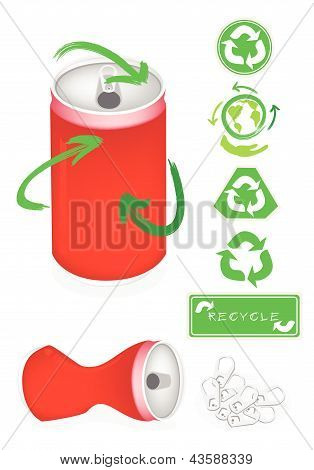 Aluminum Can With Recycle Symbol For Save The World