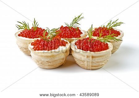 Red Caviar In Tartlet, Isolated Over White