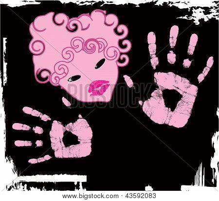 Vector abstract pink girl with hendprint