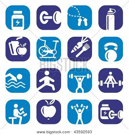 color bodybuilding icons set