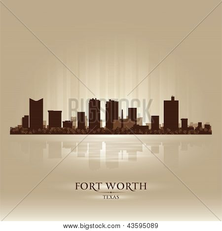 Fort Worth Texas City Skyline Silhouette