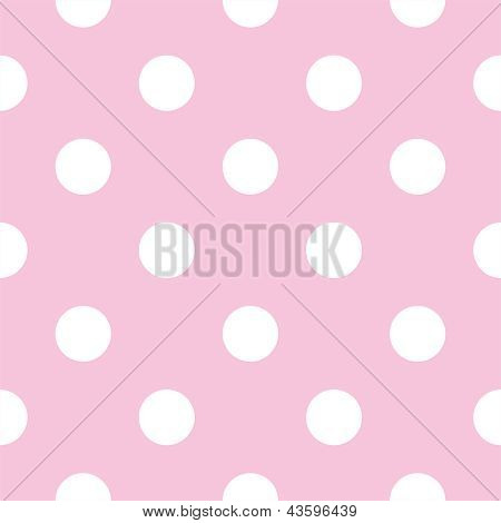 Seamless vector pattern with big white polka dots on a pastel baby pink background.