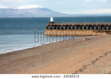 A Man Fishing Off A Beach