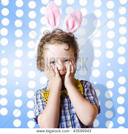 Adorable Little Kid Wearing Easter Bunny Ears