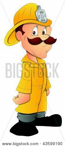 Fireman - Cartoon Character - Vector Illustration