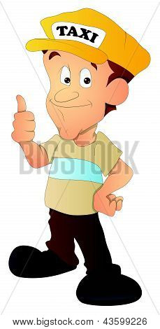 Taxi Driver - Cartoon Character - Vector Illustration