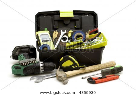 Plastic Toolbox And Tools
