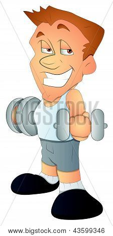 Bodybuilder - Cartoon Character - Vector Illustration