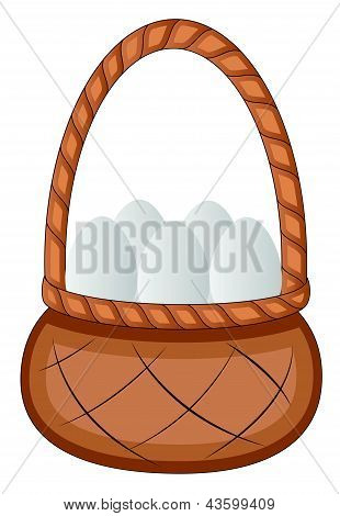 Easter Eggs Basket - Cartoon Character - Vector Illustration
