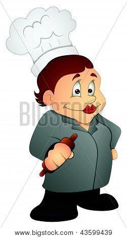 Kitchen Granny - Cartoon Character - Vector Illustration