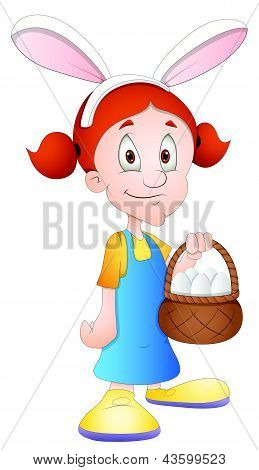 Easter Girl - Cartoon Character - Vector Illustration