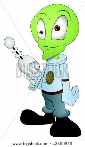 Cartoon Alien Character - Vector Illustration