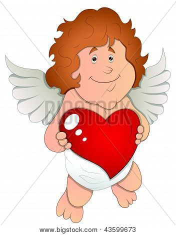 Adorable Cupid with Heart - Vector Illustration