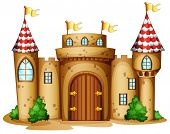 stock photo of yellow castle  - Illustration of a castle with four banners on a white background - JPG