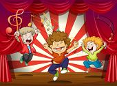 stock photo of g clef  - Illustration of kids singing at the stage - JPG