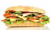pic of oblong  - Fresh and tasty sandwich with ham and vegetables isolated on white - JPG