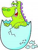 picture of dinosaur-eggs  - Cartoon illustration of a baby dinosaur hatching - JPG
