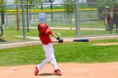 picture of little-league  - Youth boy baseball player swinging the bat - JPG