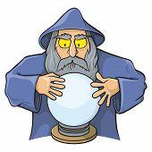 foto of merlin  - Old wizard cartoon looking at magic ball - JPG