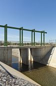 foto of upstream  - Almost finished sluice gate in the water diversion canal upstream the Alvito reservoir near Oriola village part of the Alqueva Irrigation Plan Alentejo Portugal - JPG