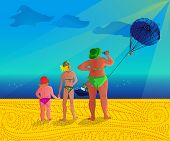 picture of parasailing  - three ladies at sea with parasailing on background - JPG
