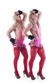 pic of transvestite  - Young crossdressers posing in studio on white background - JPG