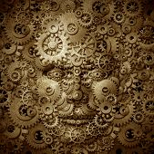 foto of professor  - Business visionary and educator symbol with a front view human head made of gears and cogs on a grunge parchement texture as a financial concept of inventiveness and having an open mind for free thoughts - JPG