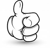 stock photo of animated cartoon  - Drawing Art of Cartoon Hand Showing Success Thumbs Up Vector Illustration - JPG