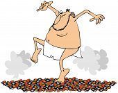 picture of loincloth  - This illustration depicts a man wearing a loincloth walking on hot coals - JPG