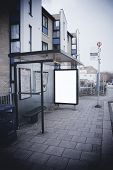 image of bus-shelter  - Blank sign at bus stop with dark surround to make your image stand out - JPG