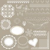 Collection Of Vector Filigree White Lace For Design