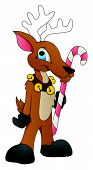 picture of rudolf  - Drawing Art of Cartoon Reindeer Character with Candy Cane Vector Illustration - JPG