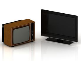 picture of lsd  - Old TV in a wooden case and a new LSD TV set on a white background - JPG