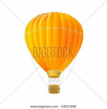 Vector orange air ballon isolated on white